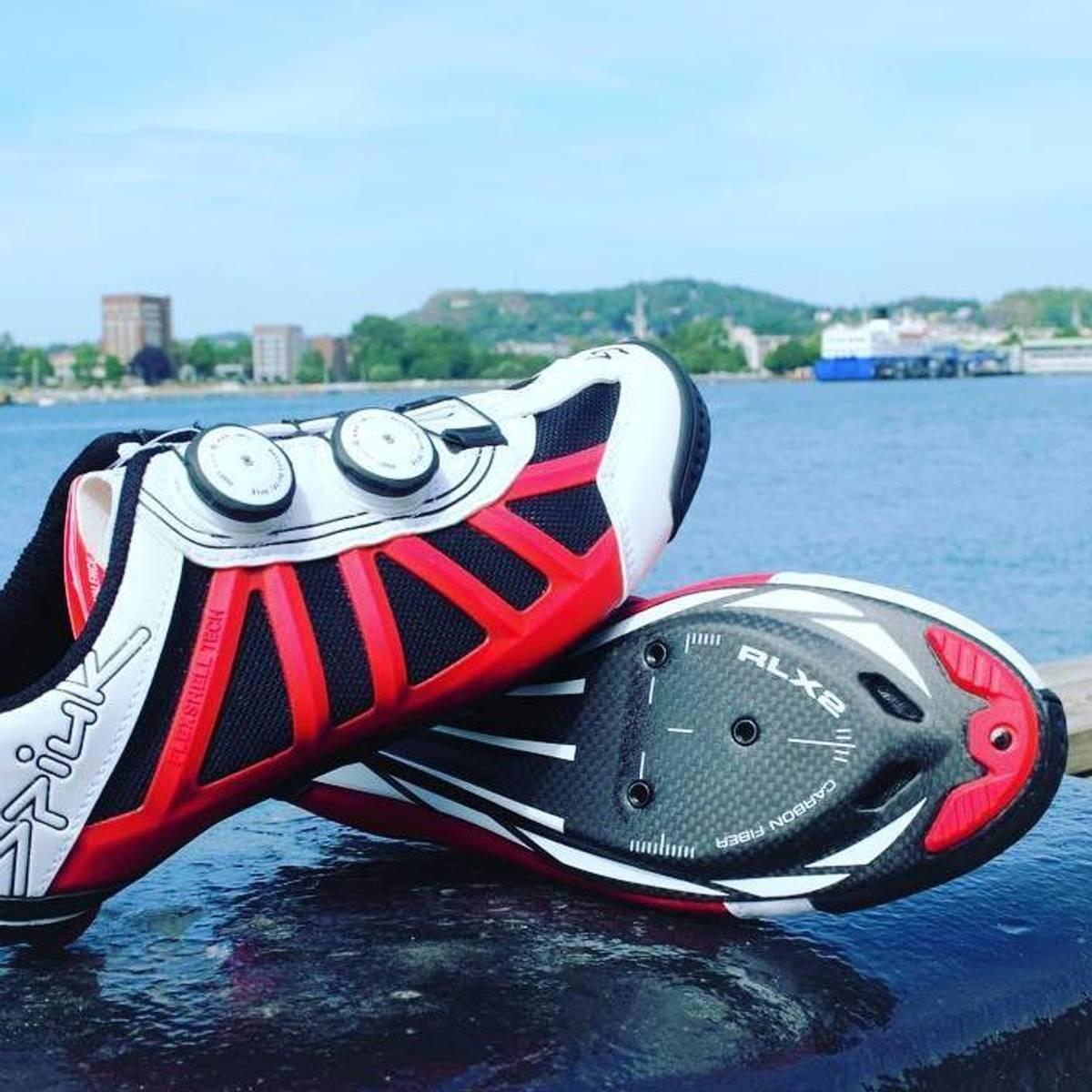 Spiuk Pragma Triathlon Sko Carbon Rød/Hvit Med 2 Hjul