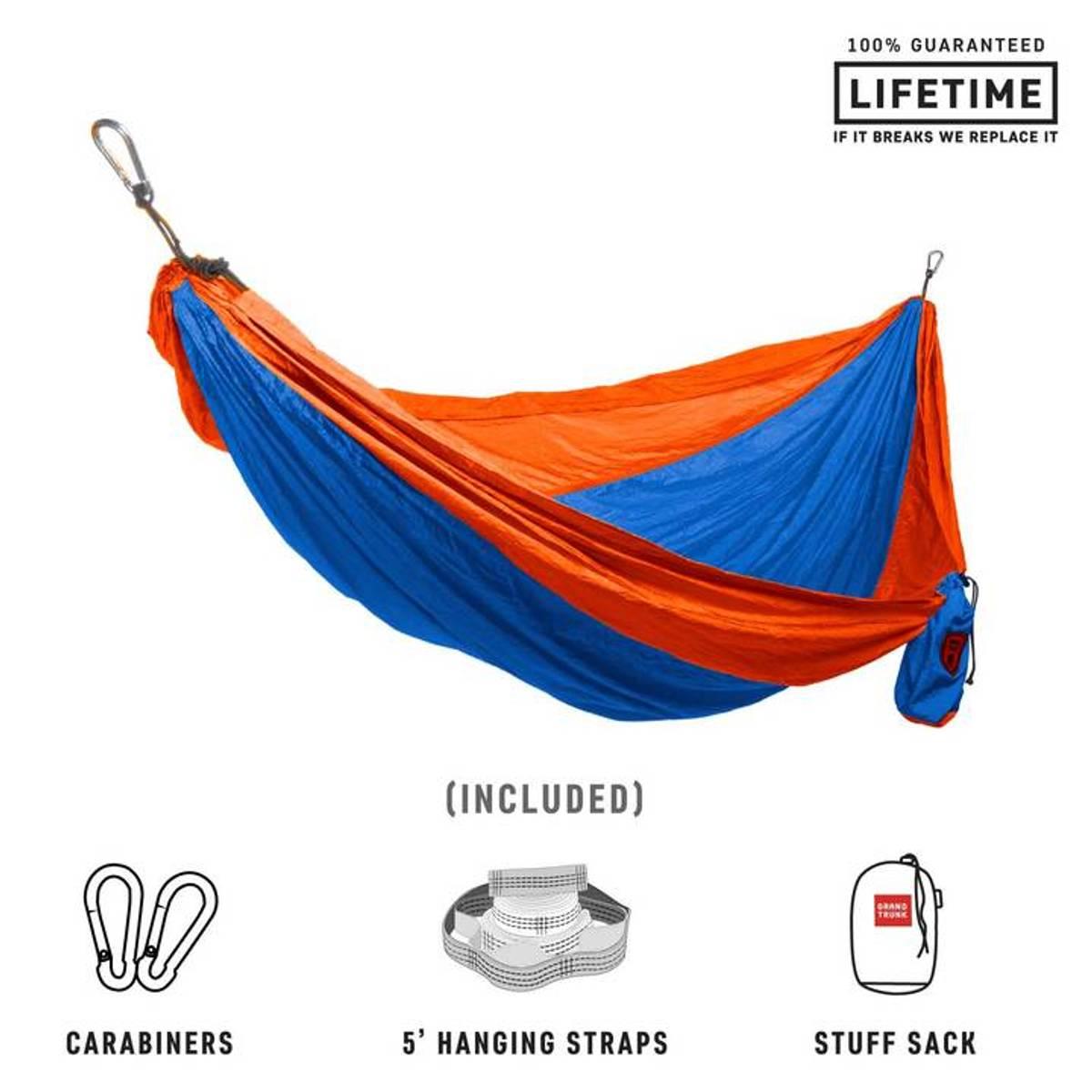 Grand Trunk Double Parachute Nylon Hammock with Straps Blue/Oran