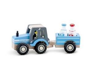 Bilde av New Classic Toys Traktor med henger i tre