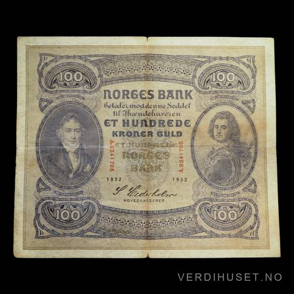 Bilde av 100 Kr 1932 A Kv 1- (A.9341706) - S
