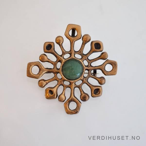 Bilde av Anheng/Brosje i bronse med amazonitt - Uni D-A