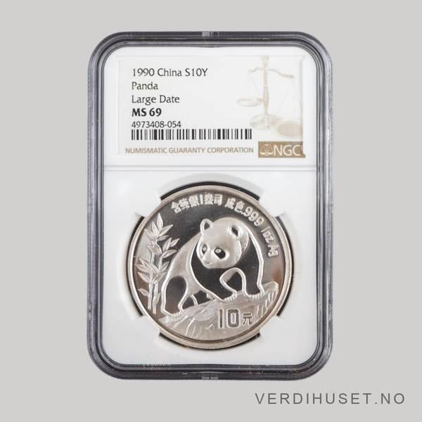 Bilde av 10 Yuan 1990 MS 69 - Panda