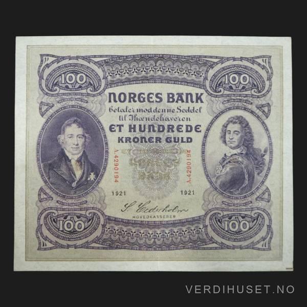 Bilde av 100 kr 1921 A kv 1+/01 (A.4290194) - S