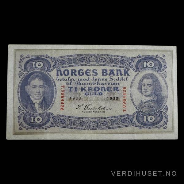 Bilde av 10 Kr 1933 T Kv 1 (T.0964426)