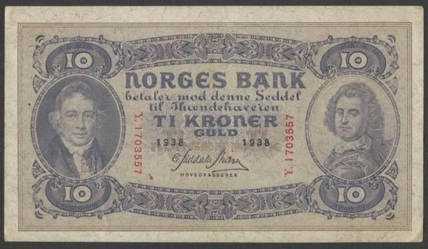 Bilde av 10 kr 1938 Y Kv 1+ (Y.1703557)