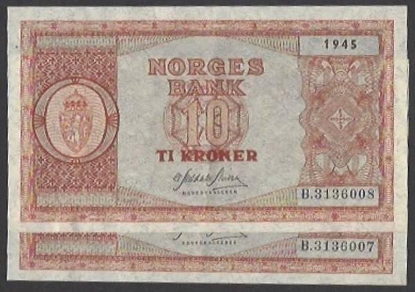 Bilde av 10 kr 1945 B Kv 01 (B.3136008-07) 2 stk i rekke.