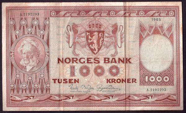 Bilde av 1000 Kr 1965 A Kv 1 (A.2192293)