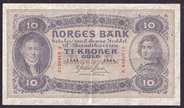 Bilde av 10 kr 1944 E Kv 1+