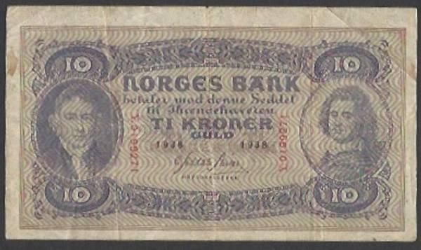 Bilde av 10 kr 1938 Y Kv 1- (Y.0199271)