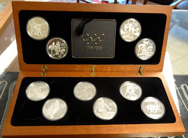 Bilde av OL myntsett 1896-1996 i sølv