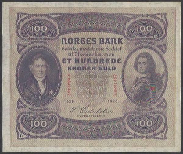 Bilde av 100 kr 1926 A kv 01 (A.6841407) - SS