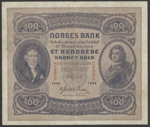Bilde av 100 kr 1938 B kv 1 (B.2200603)