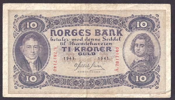 Bilde av 10 kr 1941 A Kv 1