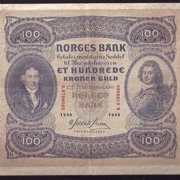 Bilde av 100 kr 1940 B Kv 1+ (B.6799060)