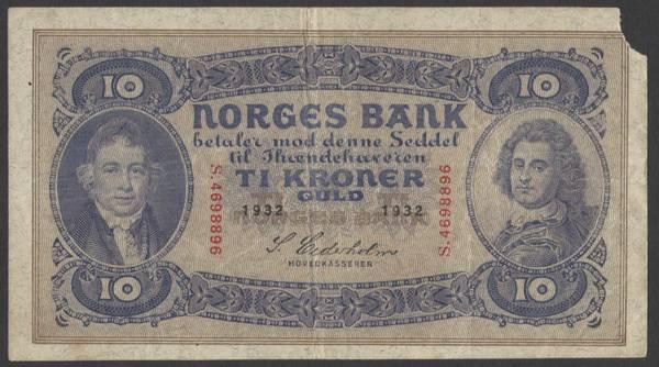 Bilde av 10 kr 1932 S Kv 1- (S.4698896) m/anm