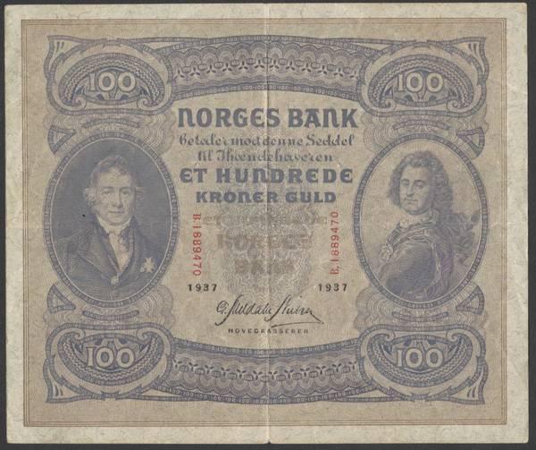 Bilde av 100 kr 1937 B kv 1 (B.1889470)