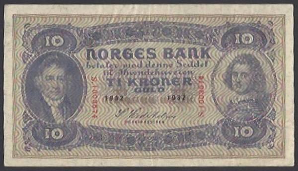 Bilde av 10 kr 1932 S Kv 1+ (S.1003574)