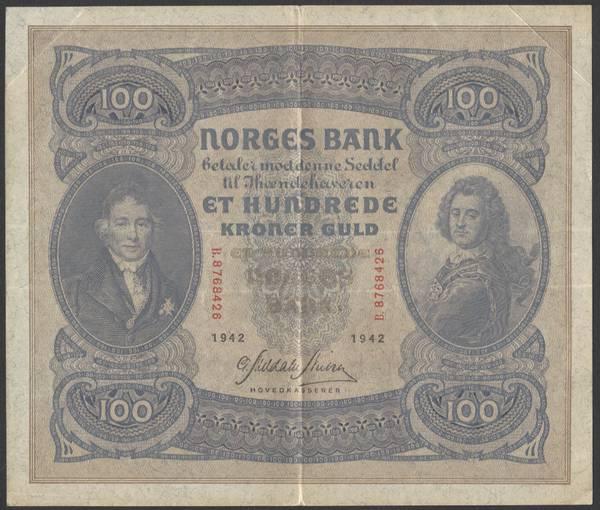 Bilde av 100 kr 1942 B Kv g1 (B.8768426)
