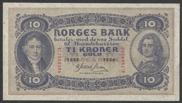 Bilde av 10 kr 1936 U Kv 0/01 (U.7999289)