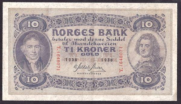 Bilde av 10 kr 1938 Y Kv 1+ (Y.1648071)