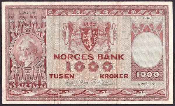 Bilde av 1000 kr 1968 A kv g1 (A.2923081)