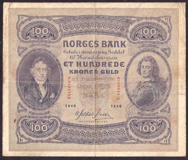Bilde av 100 kr 1940B Kv 1(B. 4404459)
