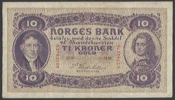 Bilde av 10 kr 1919 H Kv 1+ (H.2783076)