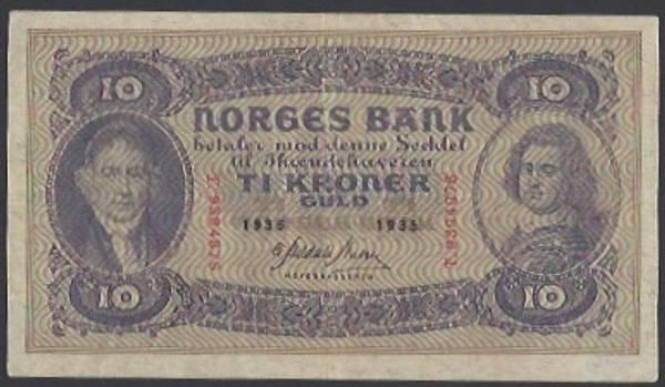 Bilde av 10 Kr 1935 T Kv 1+ (T.9394876) - S
