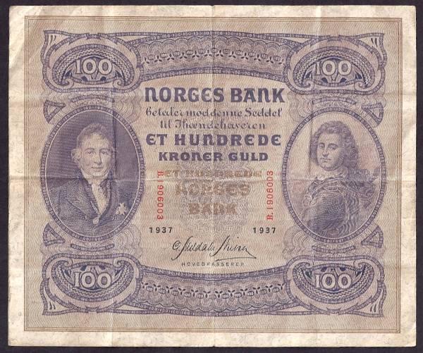 Bilde av 100 kr 1937 B kv 1 (B.1906003)