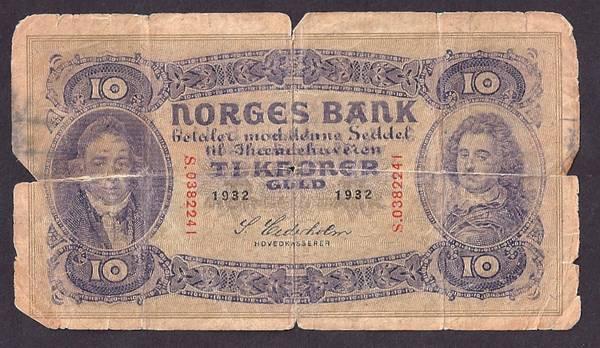 Bilde av 10 kr 1932 s Kv 1-/2