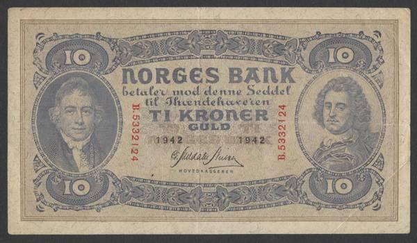 Bilde av 10 kr 1942 B kv 1+ (B.5332124)