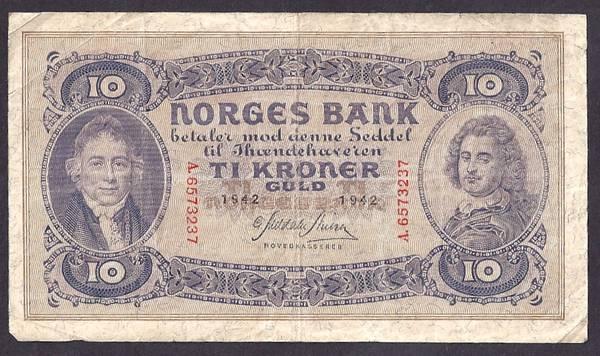 Bilde av 10 kr 1942 A Kv 1-