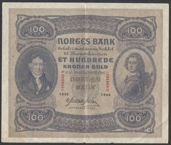 Bilde av 100 kr 1940 B Kv g1 (B. 6669601)