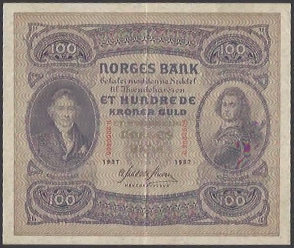 Bilde av 100 kr 1937 B kv 1+ (B.2000505)