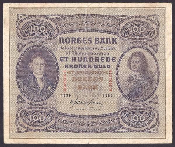 Bilde av 100 kr 1939 B kv 1+ (B.3655336)