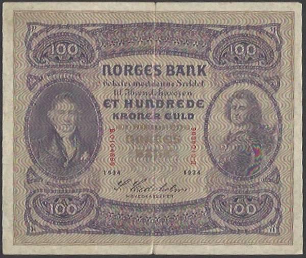 Bilde av 100 kr 1934 B kv VF (B.0104696)