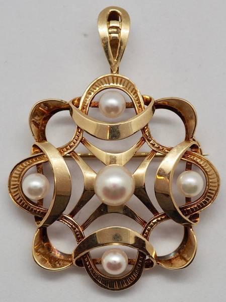 Bilde av Anheng/Brosje i 14 K gull med perler