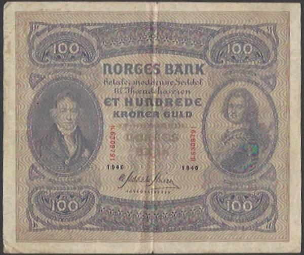 Bilde av 100 kr 1940B Kv 1- (B. 6309791)