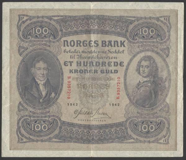 Bilde av 100 kr 1942 B Kv 1+ (B.9357210)