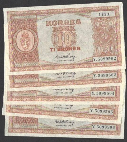 Bilde av 10 kr 1953 Y Kv s0/01 (Y.5099502-06) 5 i rekke