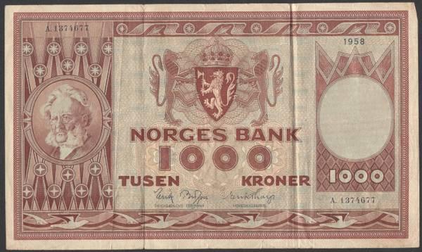 Bilde av 1000 Kr 1958 A Kv 1 (A.1374677)