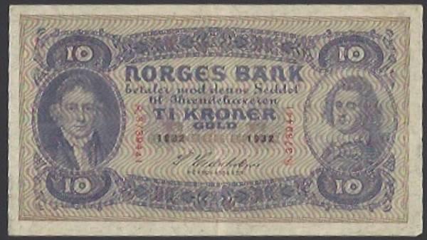 Bilde av 10 Kr 1932 S Kv 1+ (S.3739441)