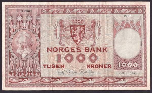 Bilde av 1000 Kr 1968 A kv 1 (A.3129694)
