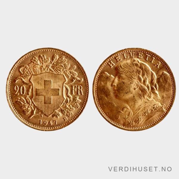 Bilde av 20 Franc Sveits Gullmynter Ulike Årstall