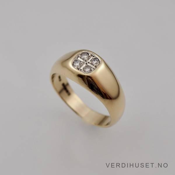 Bilde av Ring i 9 K gull med blanke stener