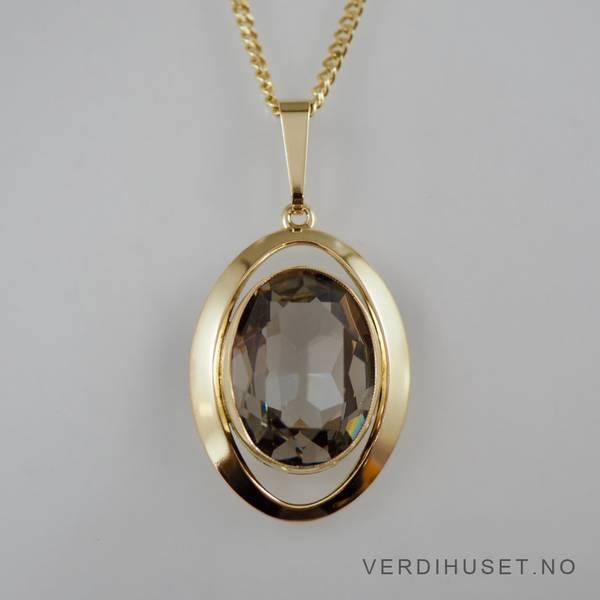 Bilde av Anheng i 14 K gull med stor grå sten