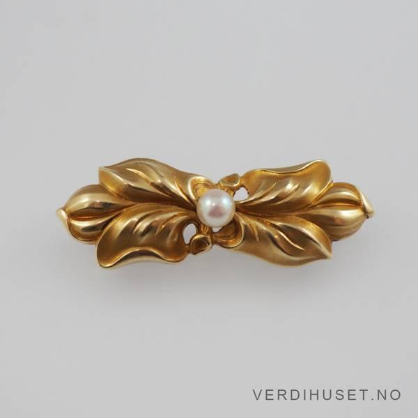 Bilde av Brosje i 14 K gull med perle