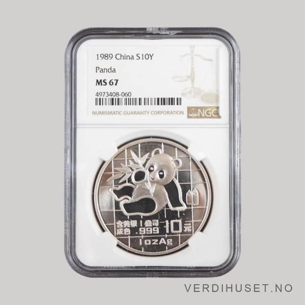Bilde av 10 Yuan 1989  MS 67 - Panda