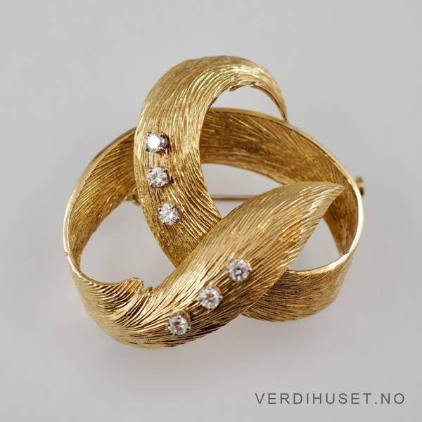 Bilde av Brosje i 18 K gull med 6 diamanter