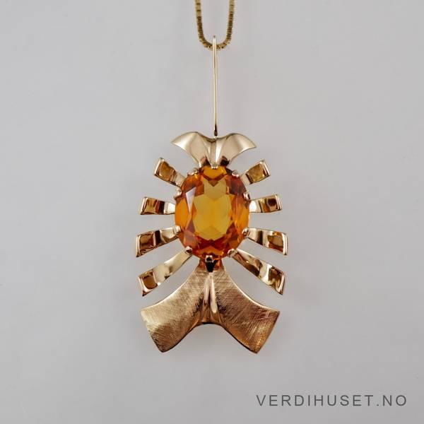 Bilde av Anheng i 14 K gull med orange sten